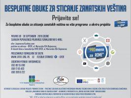 PRIJAVI SE   za besplatne obuke za sticanje zanatskih veština u okviru projekta     PROmena za Rome