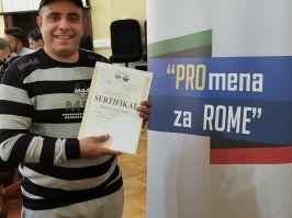 SVEČANA PODELA SERTIFIKATA NAKON ZAVRŠENE OBUKE U OKVIRU PROJEKTA PROmena ZA ROME